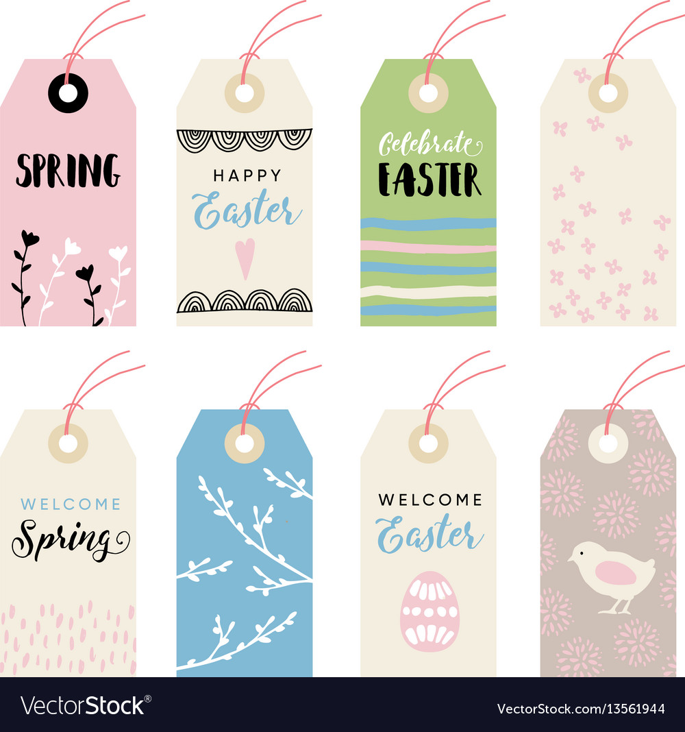 Cute hand drawn easter set gift tags and labels