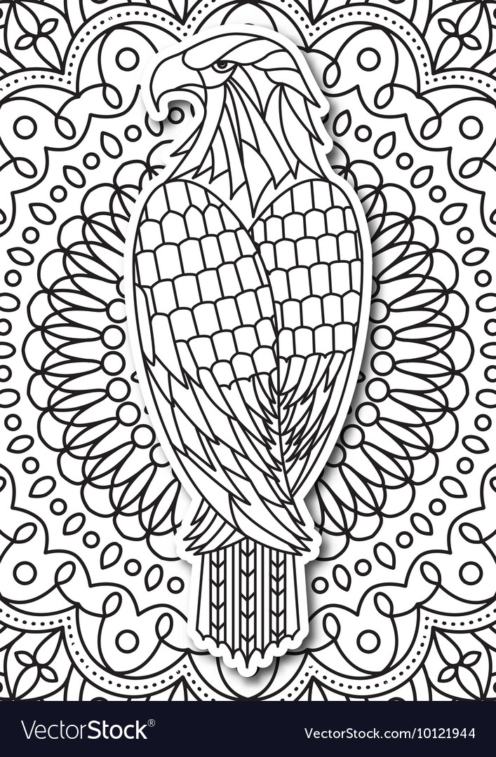 Eagle - coloring page for adults in ethnic style