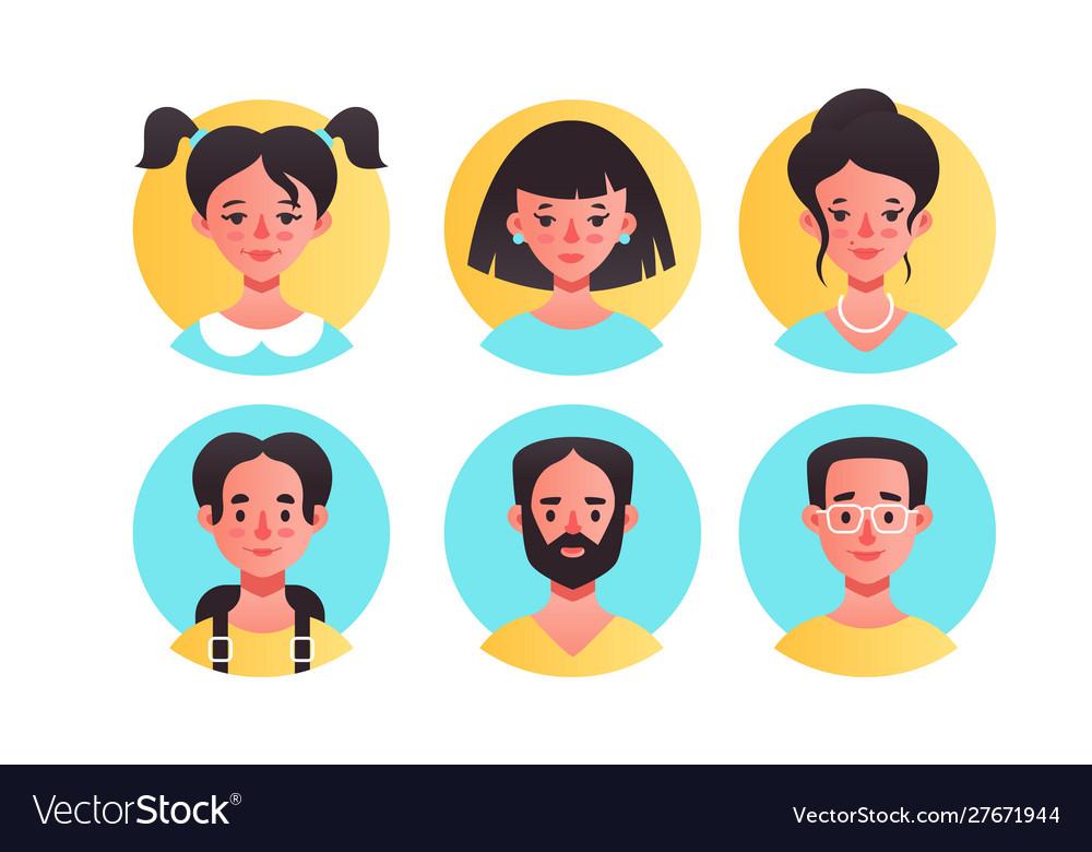 Female and male avatars icons set