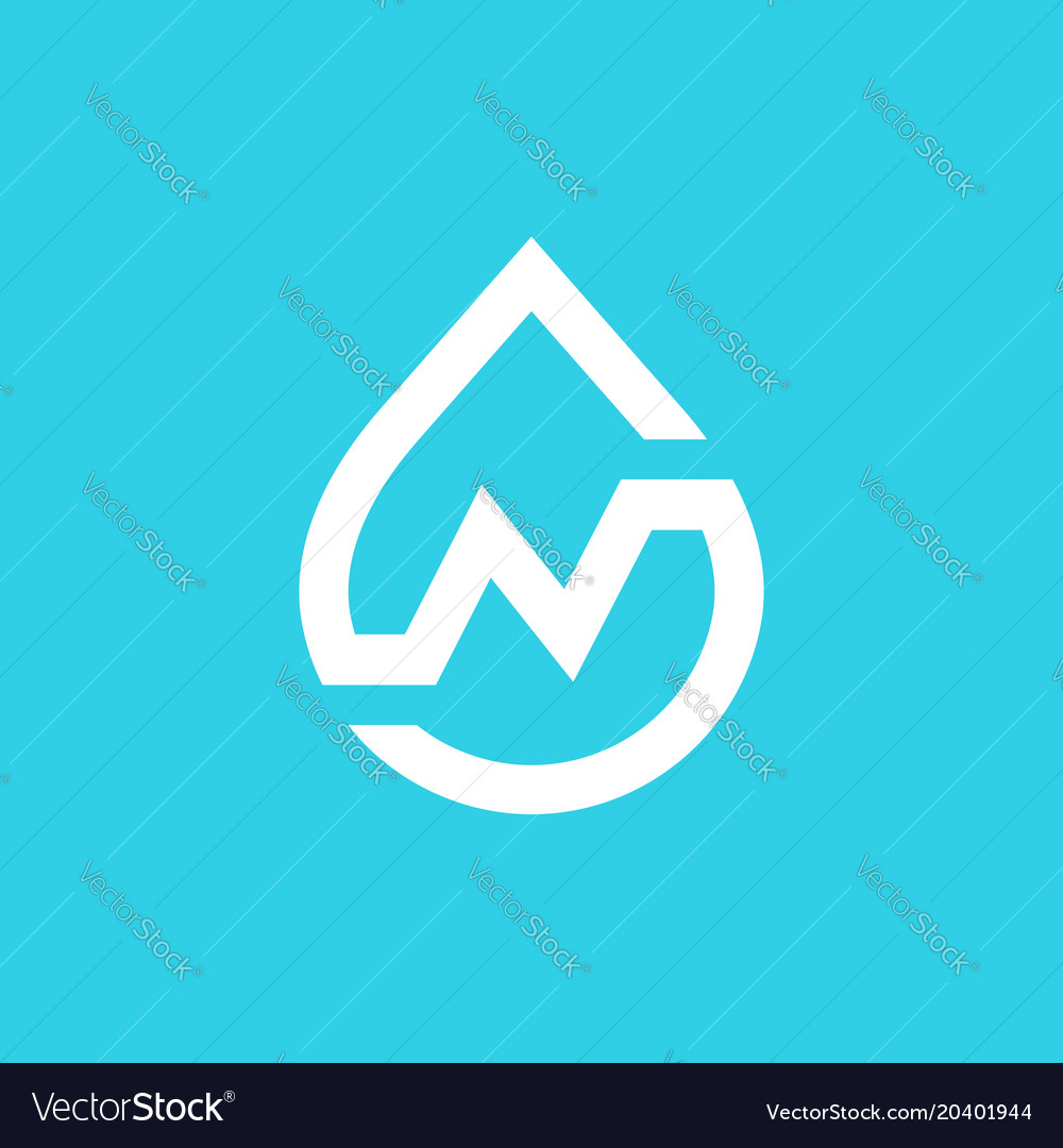 Letter n water drop logo icon design template