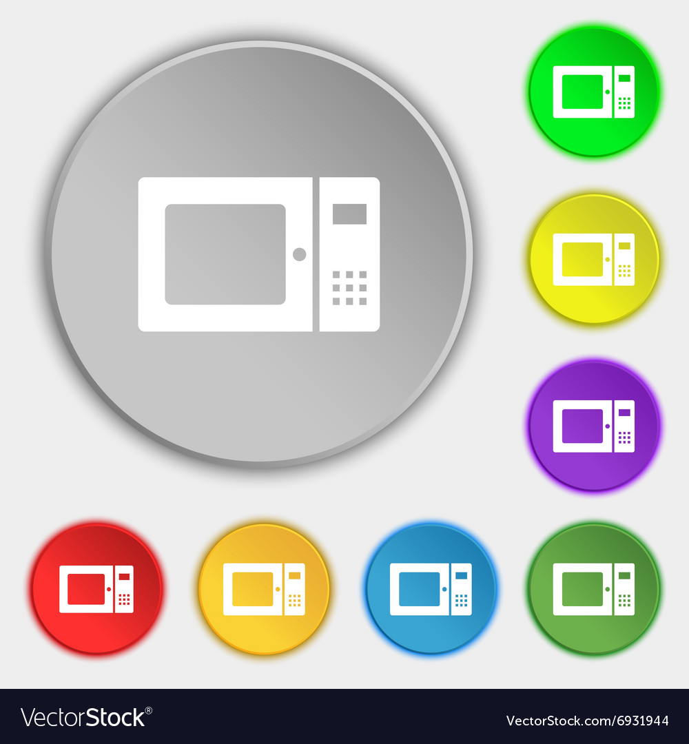 Microwave icon sign Symbol on eight flat buttons vector image