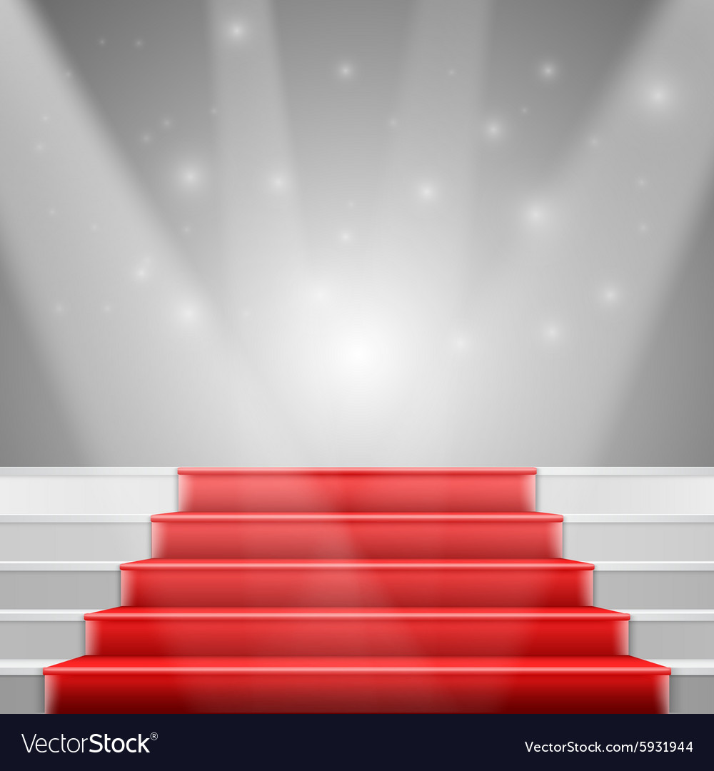 Photorealistic Stairs with Red Carpet and