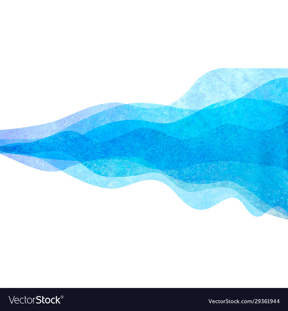 Watercolor transparent wave blue colored vector