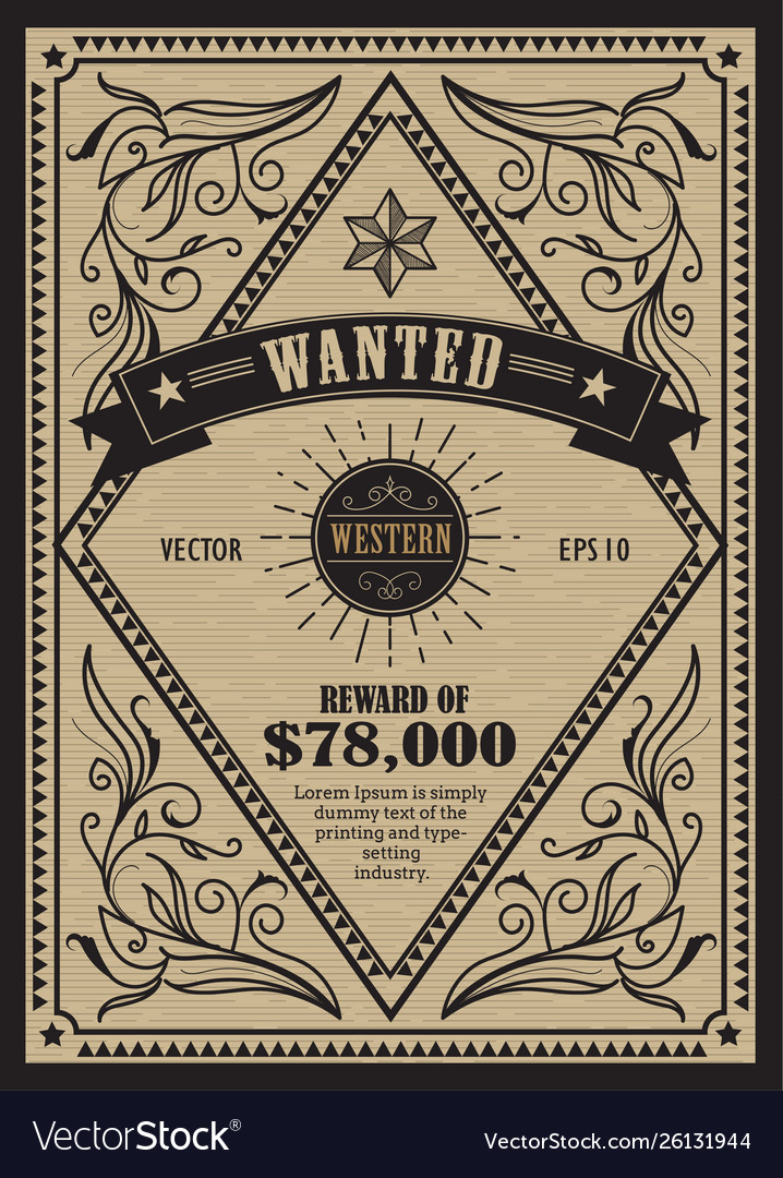 Western vintage frame antique label wanted retro