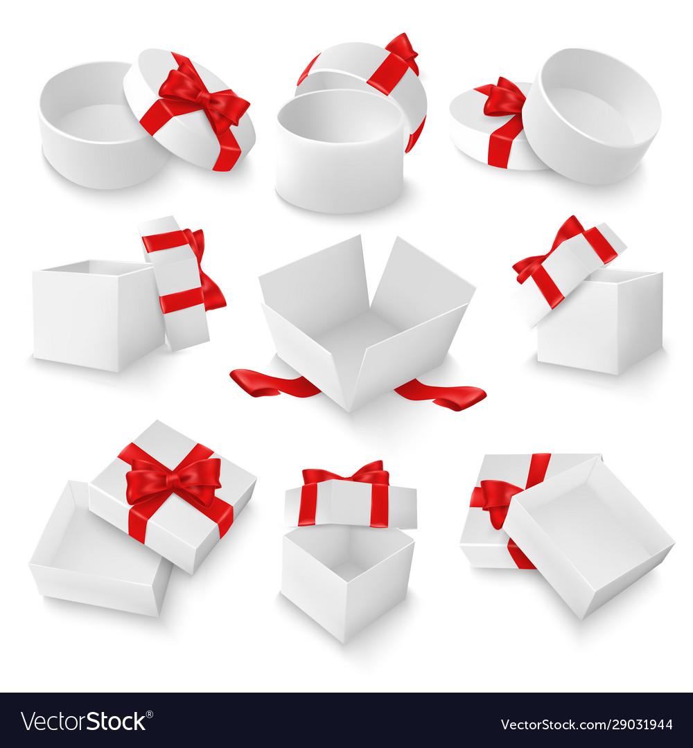 White open gift box mockup set isolated