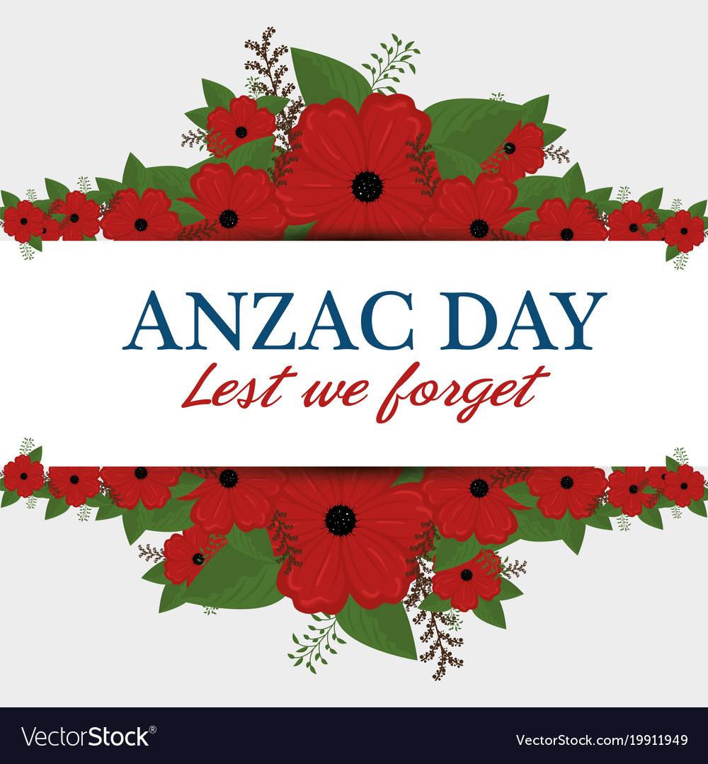 Anzac Day Poster With Red Poppy Flower Royalty Free Vector