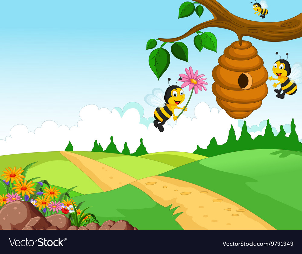 Bees cartoon holding flower and a beehive with for