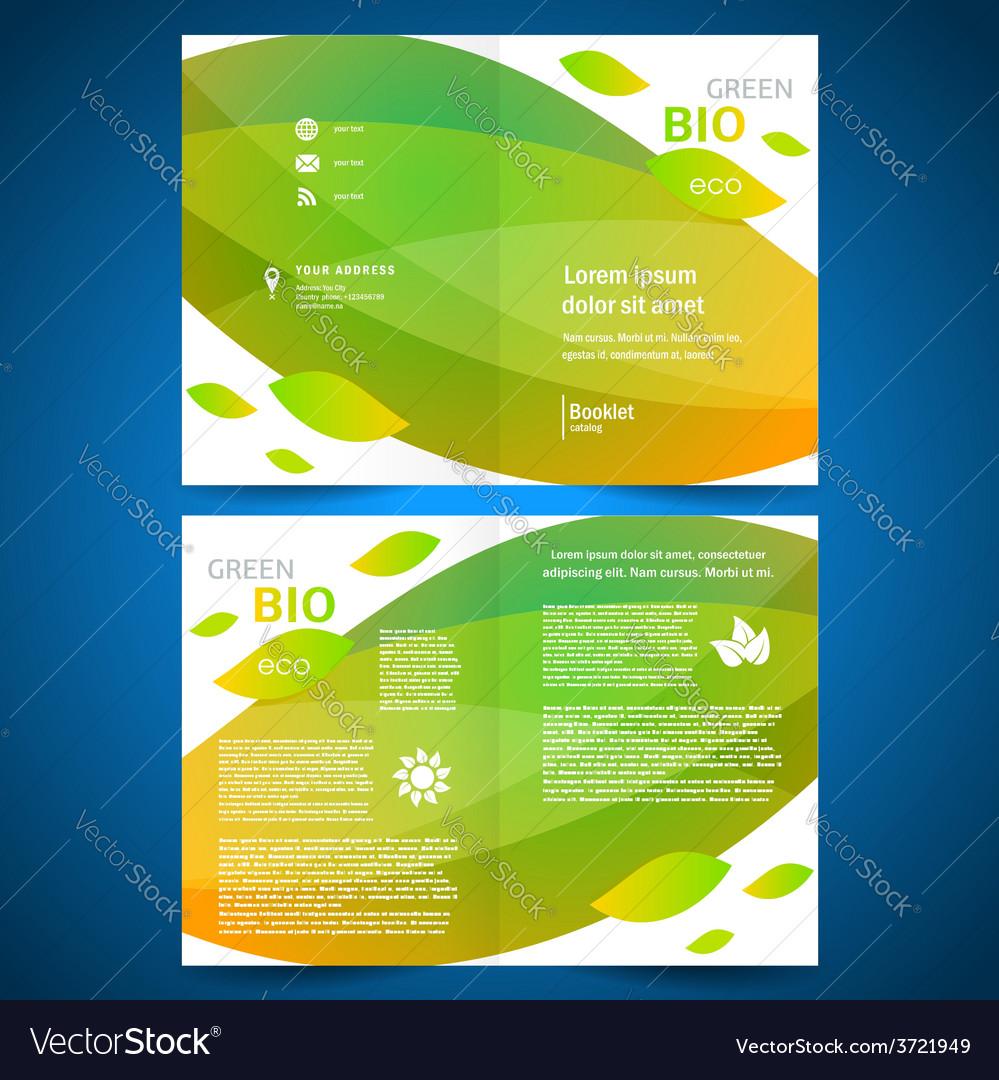 Brochure folder bio eco green leaf nature eco vector image