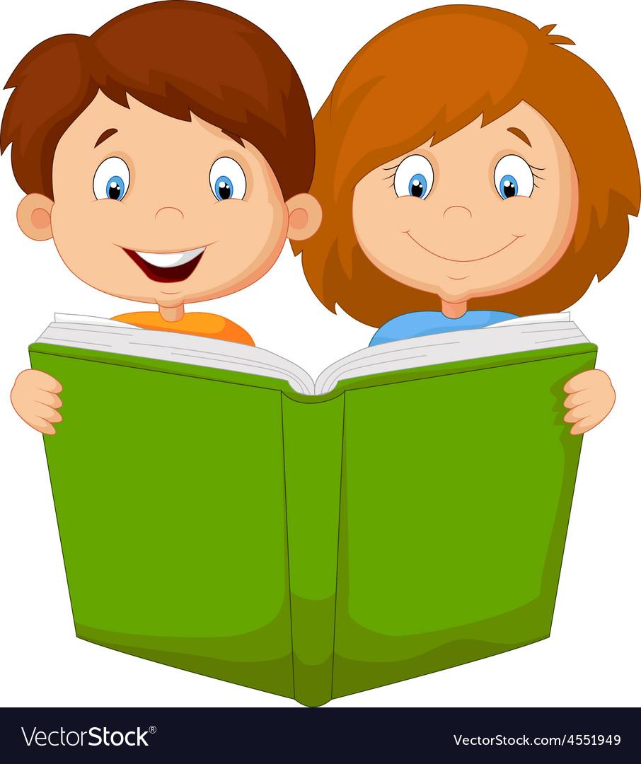 Cartoon Boy And Girl Reading Book Royalty Free Vector Image - Cartoon-boy-images-free