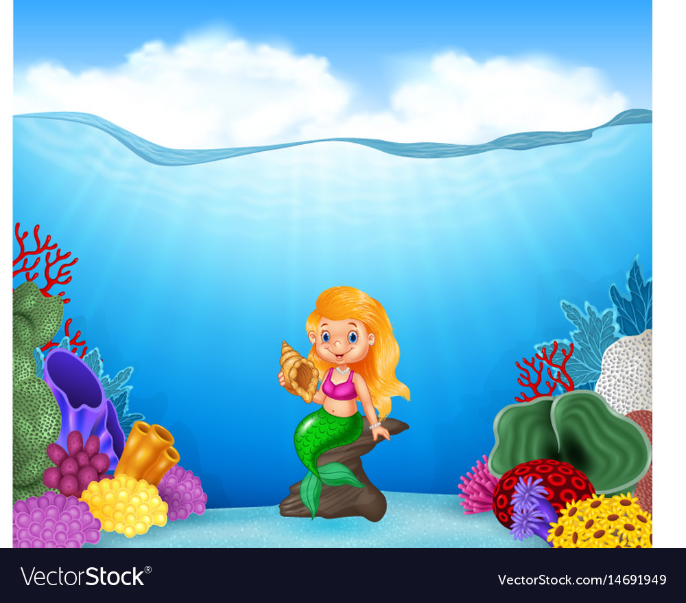 Cartoon mermaid holding seashell with beautiful un vector image