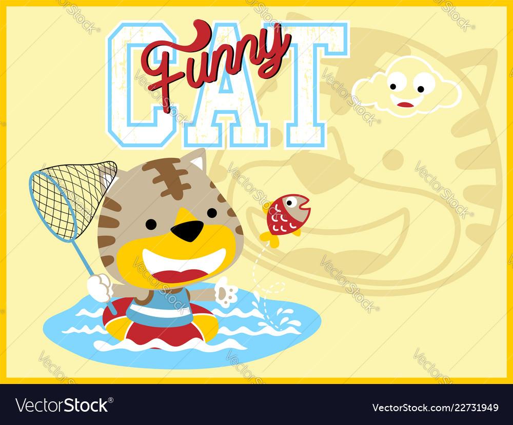 Funny cat cartoon with fishing net