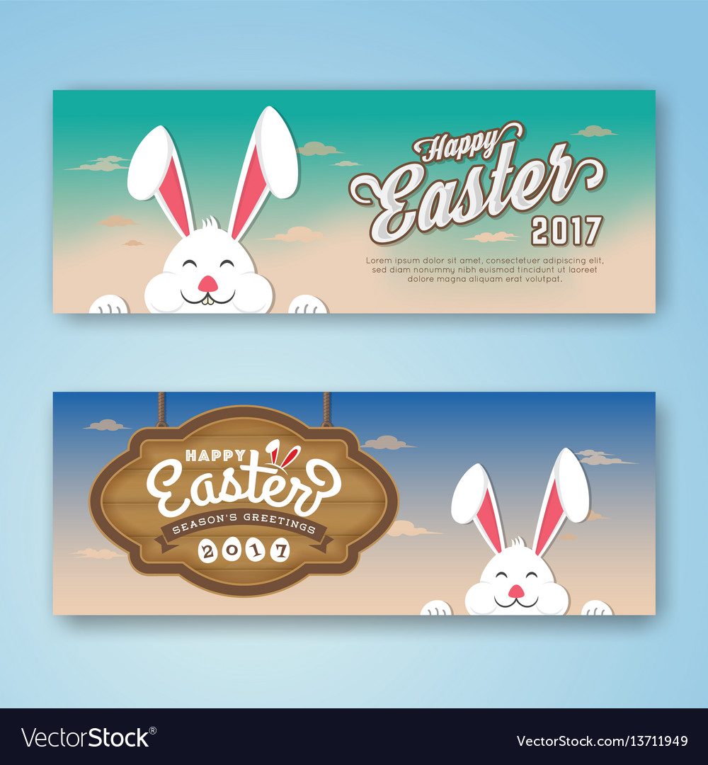 Happy easter 2017 web banner vector image
