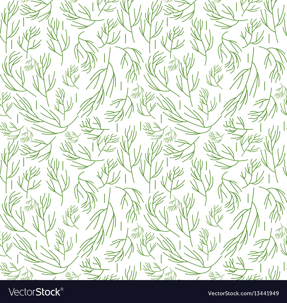 Herbs seamless pattern dill endless background