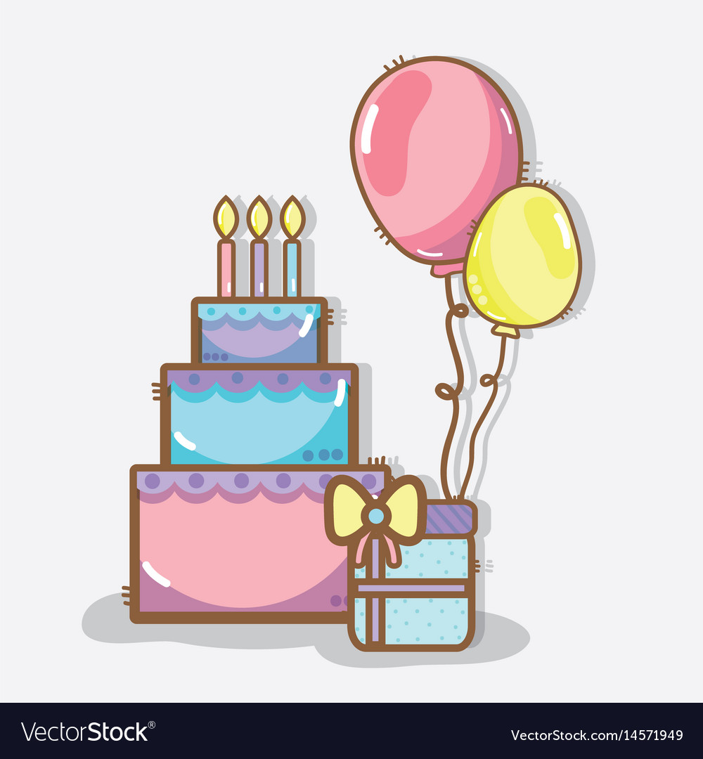 Awe Inspiring Line Cake With Balloons And T Birthday Vector Image Funny Birthday Cards Online Sheoxdamsfinfo