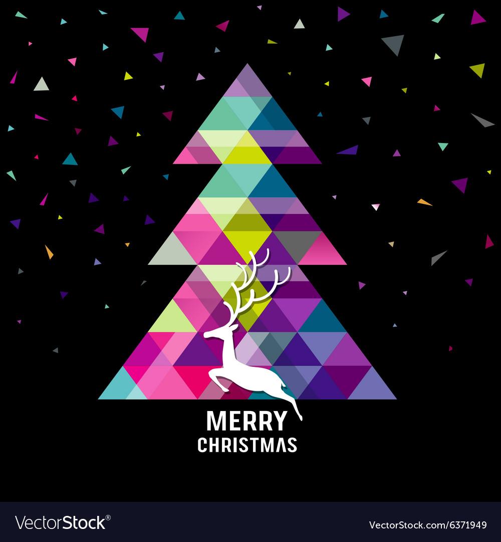 Merry Christmas geometry tree with reindeer vector image