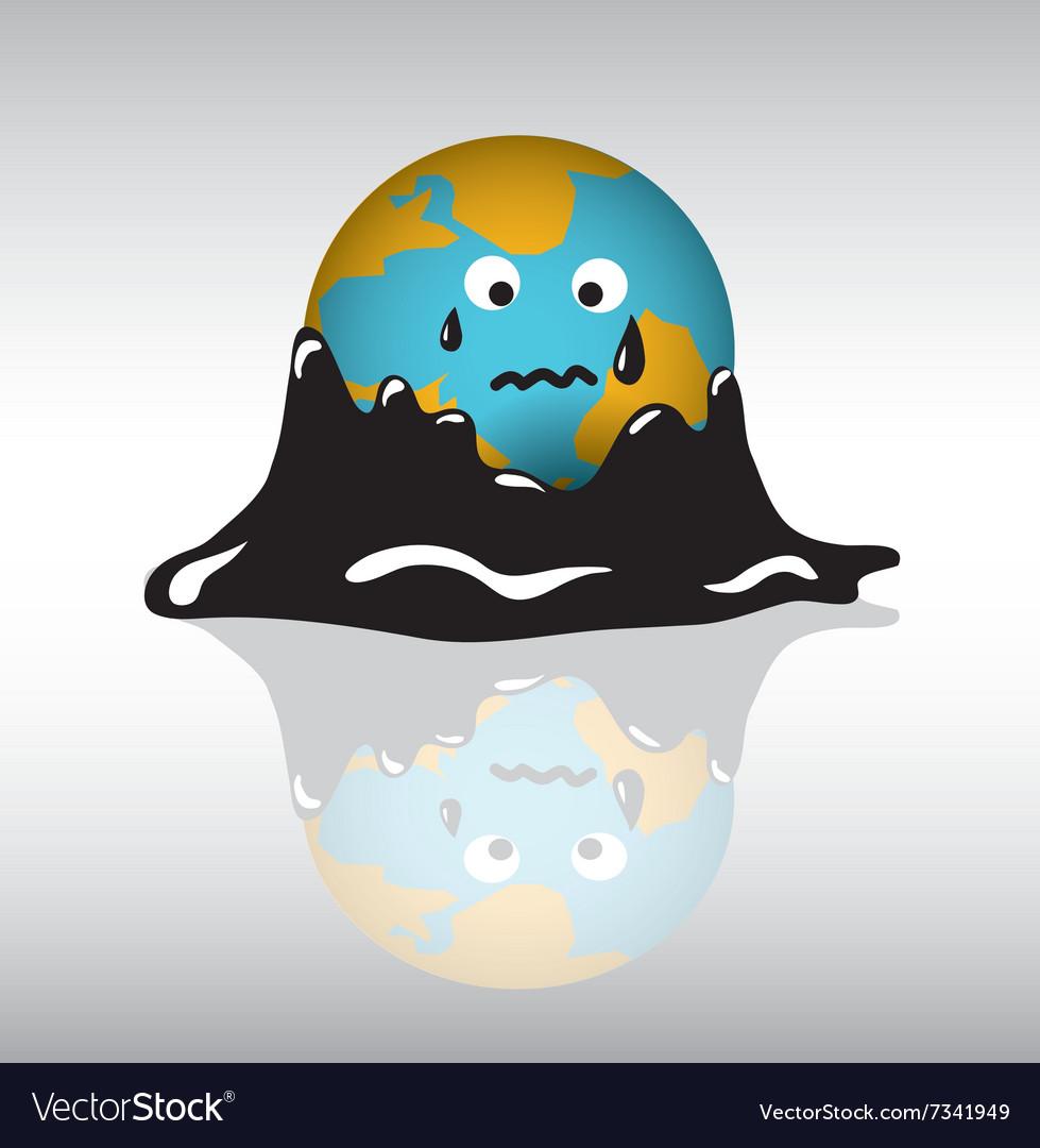 Planet earth sadness crisis oil vector image