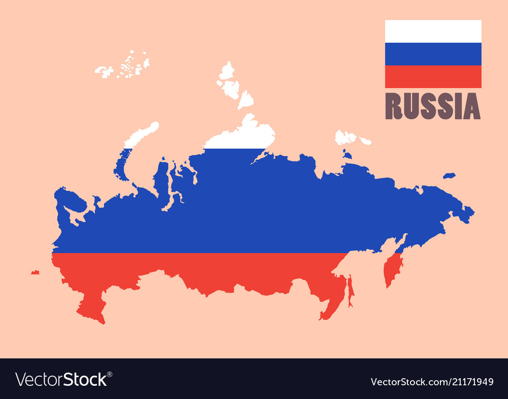 Russia map with flag background