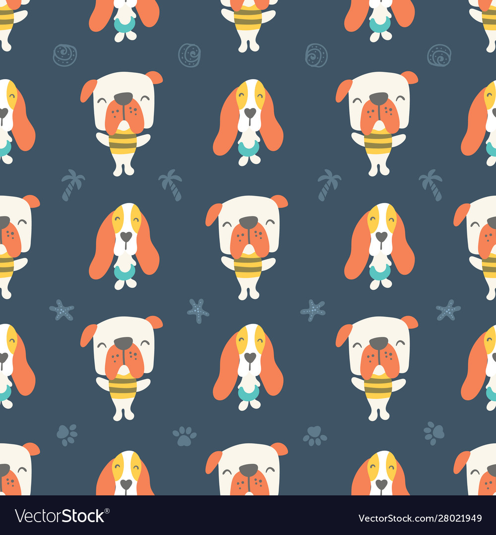 Seamless pattern cute puppies and dogs on blue
