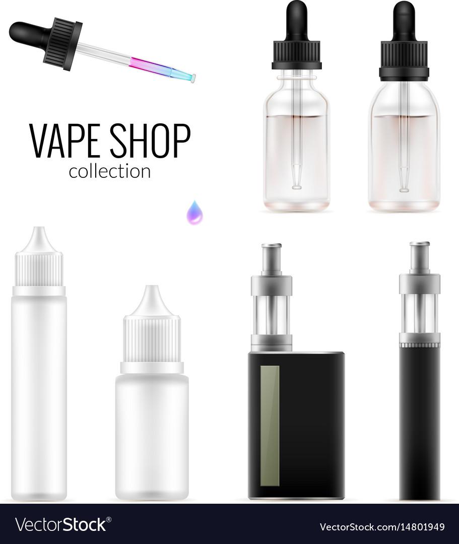 Set of realistic vape bottles and e-cigarette