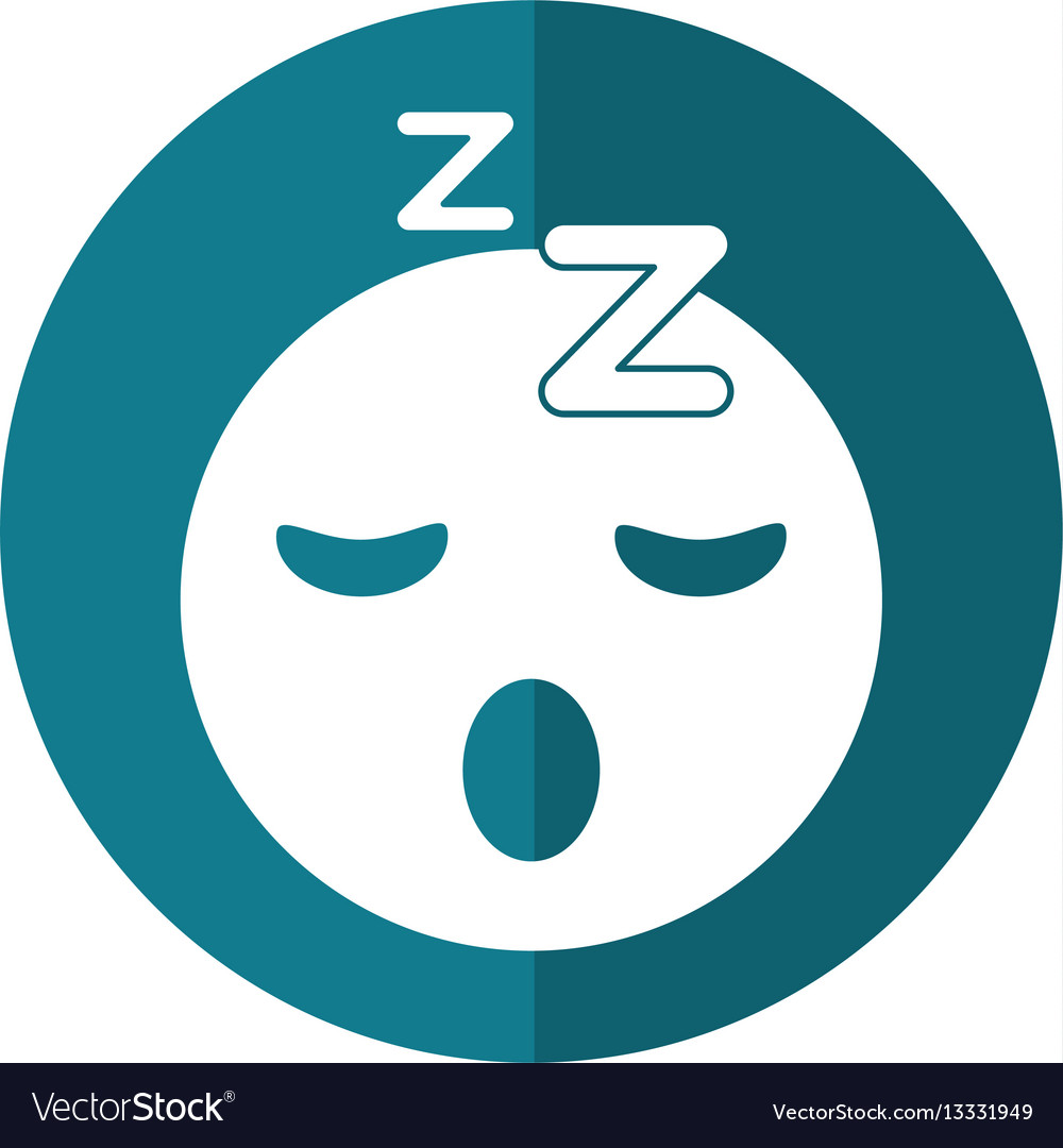 Sleepy emoticon funny shadow vector image
