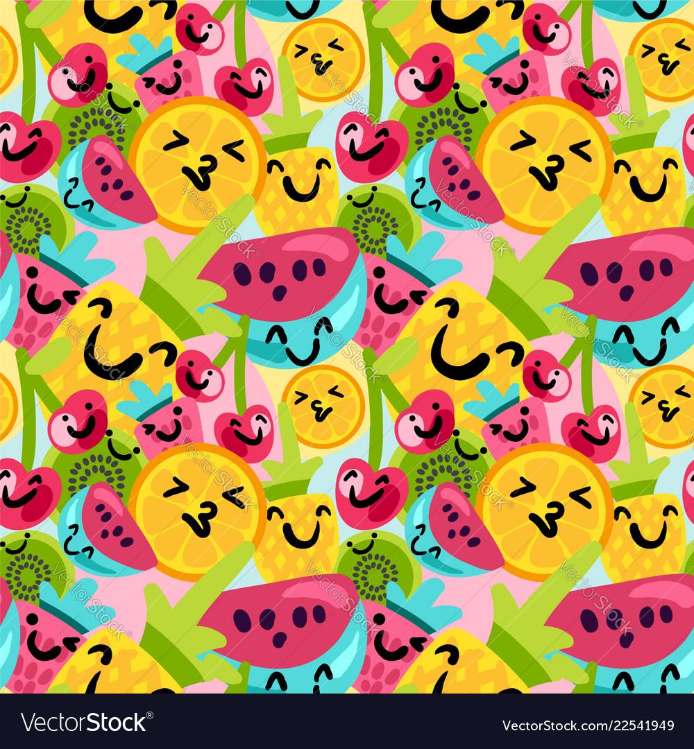 Summer fruits pattern in cartoon style
