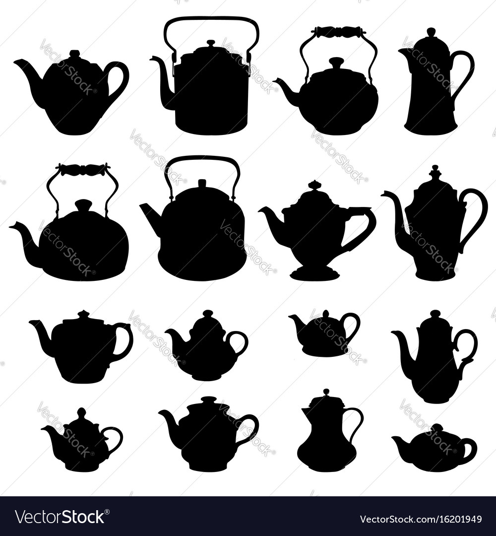 Tea kettles set teapots collection coffee pot vector image
