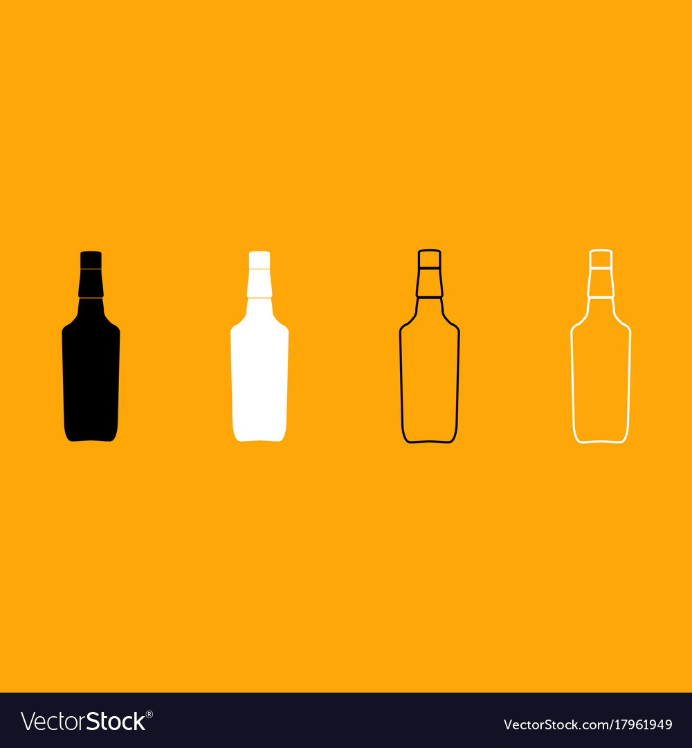 Whisky black and white set icon vector image