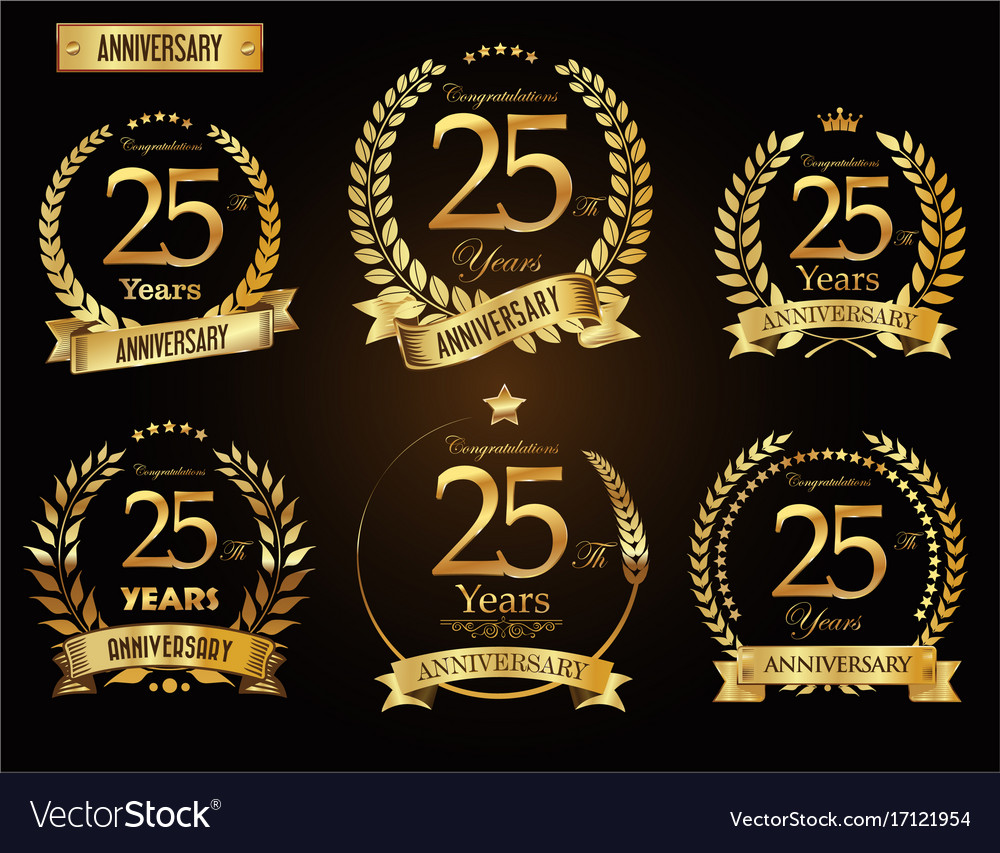 Anniversary golden laurel wreath 25 years