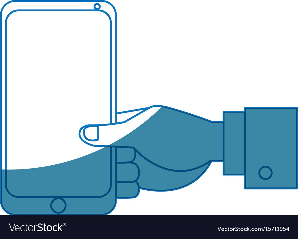 Businessman hand holding smartphone app