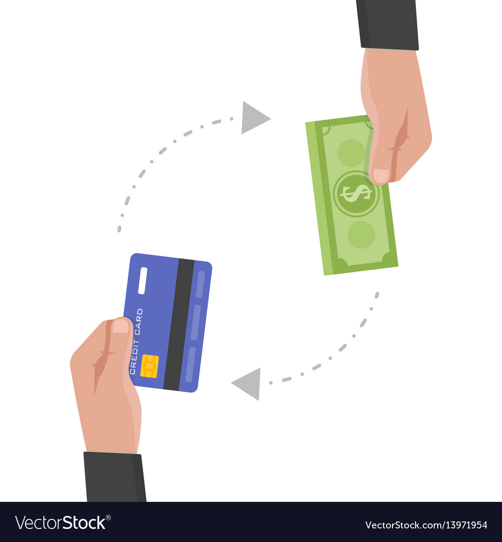 Businessman hand holds credit card and money