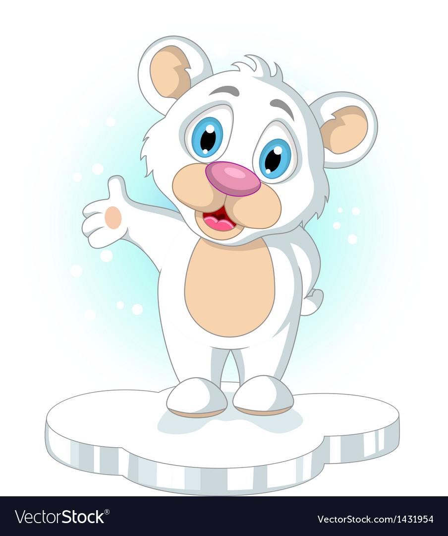 Cute little Polar bear cartoon rising his hand