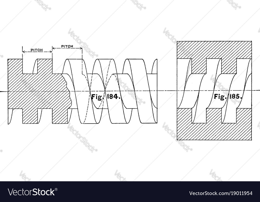 Diagram square thread nut and screw lower a
