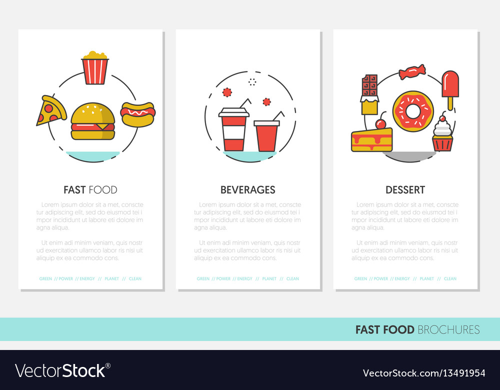 Fast food business brochures linear