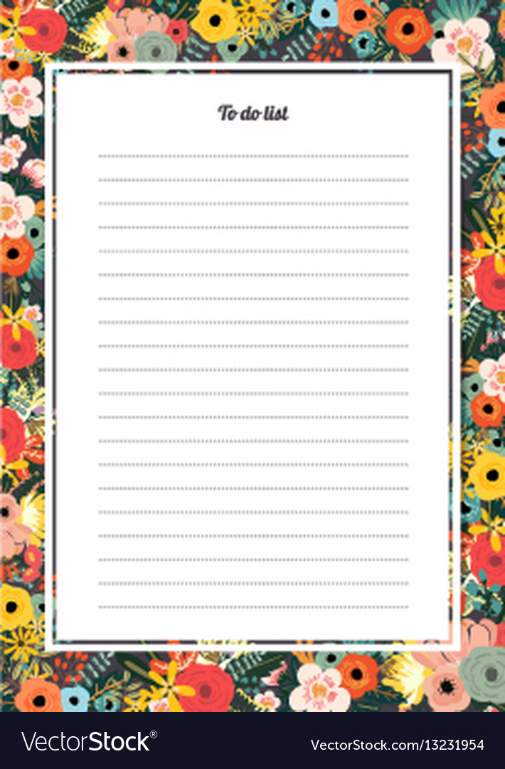 flowers poster template to do list royalty free vector image