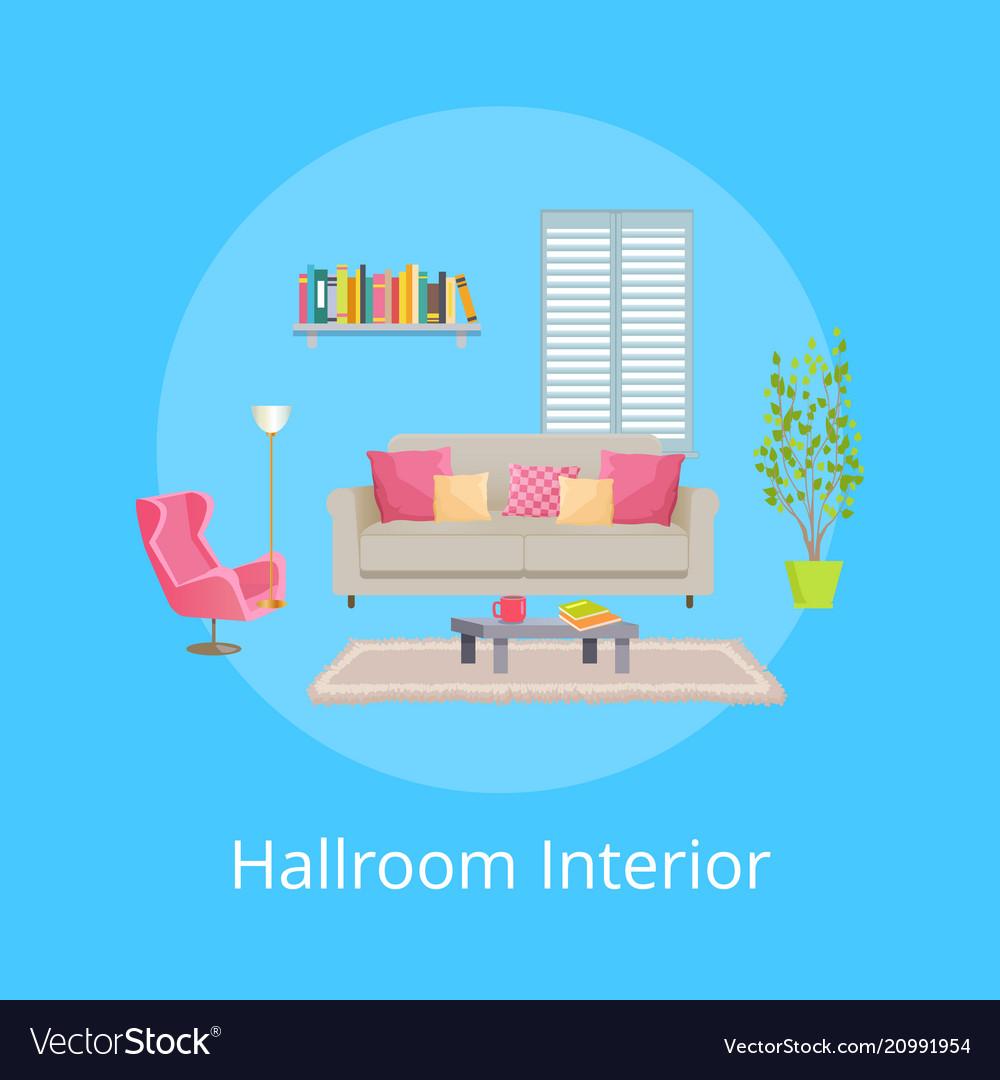 Hallroom interior blue poster vector image