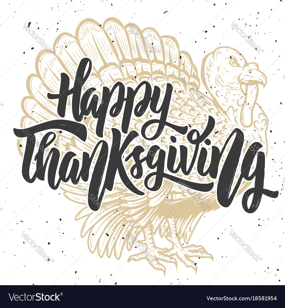 Happy thanksgiving hand drawn lettering on