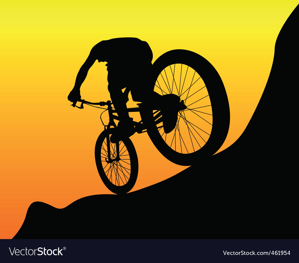 Mountain biker vector image