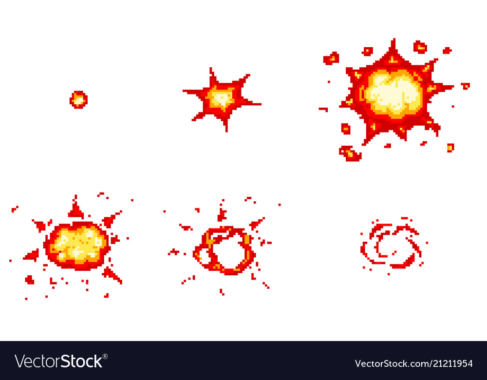 Pixel art explosions game icons set comic boom