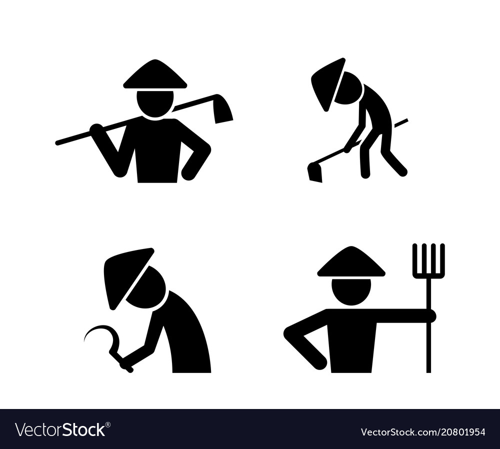 Set of farmer icons in simple style art