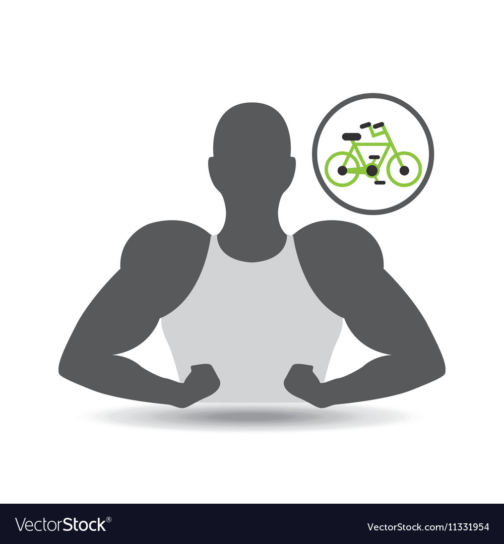 Silhouette man showing muscle with bycicle vector image
