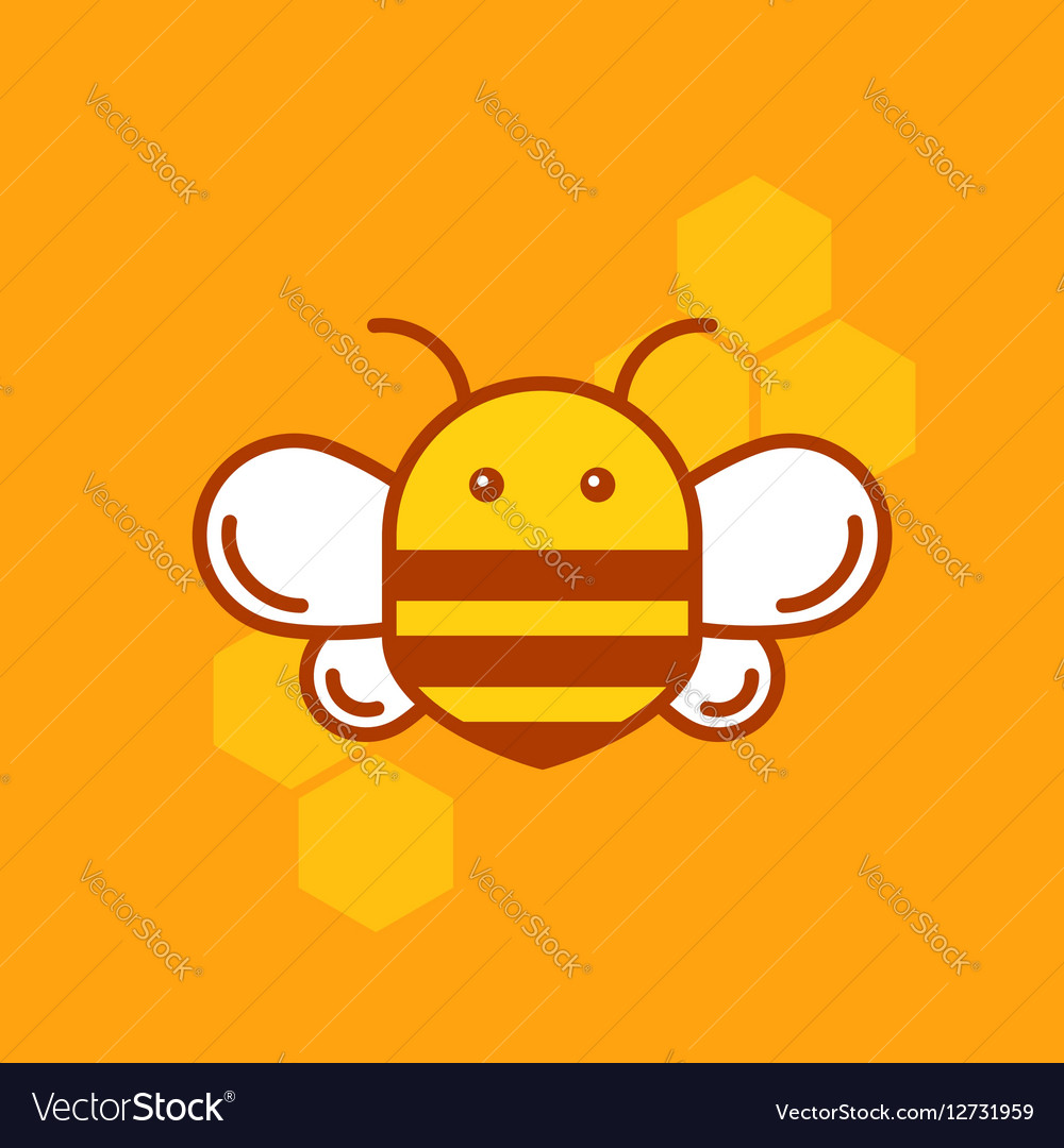 Bee thin lined icon Bumblebee logotype template