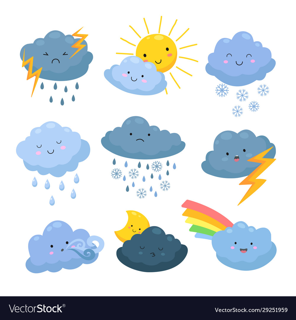 Cartoon weather clouds rain snow elements