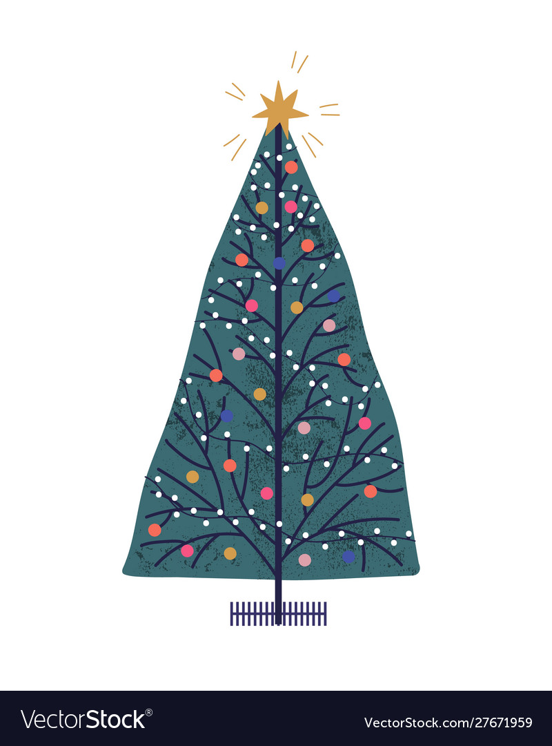 Christmas tree hand drawn new