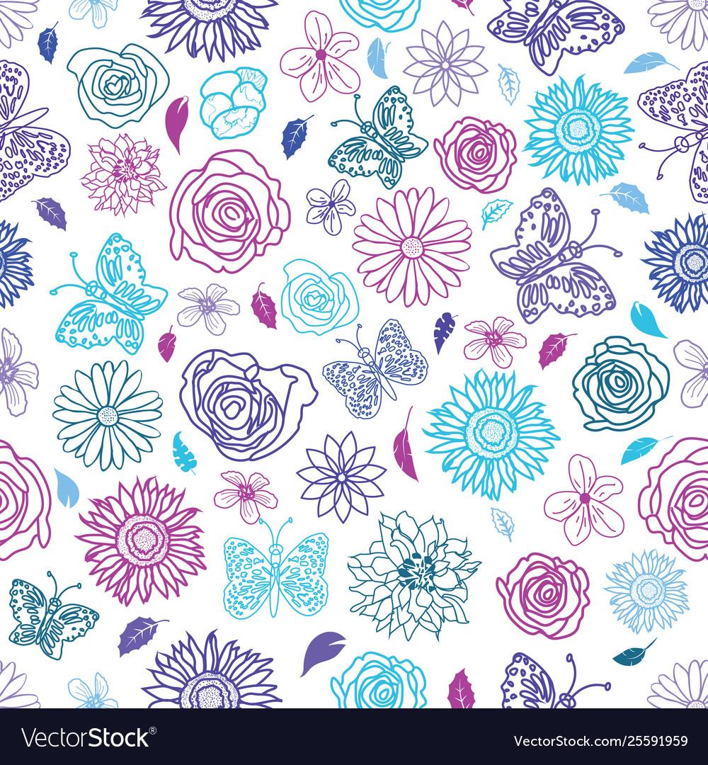Cute hand drawn seamless garden floral pattern