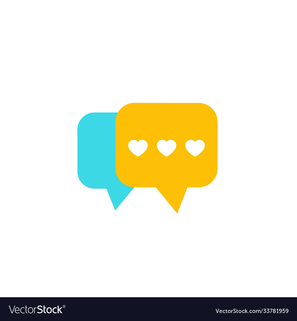 Dating app love chat icon flat
