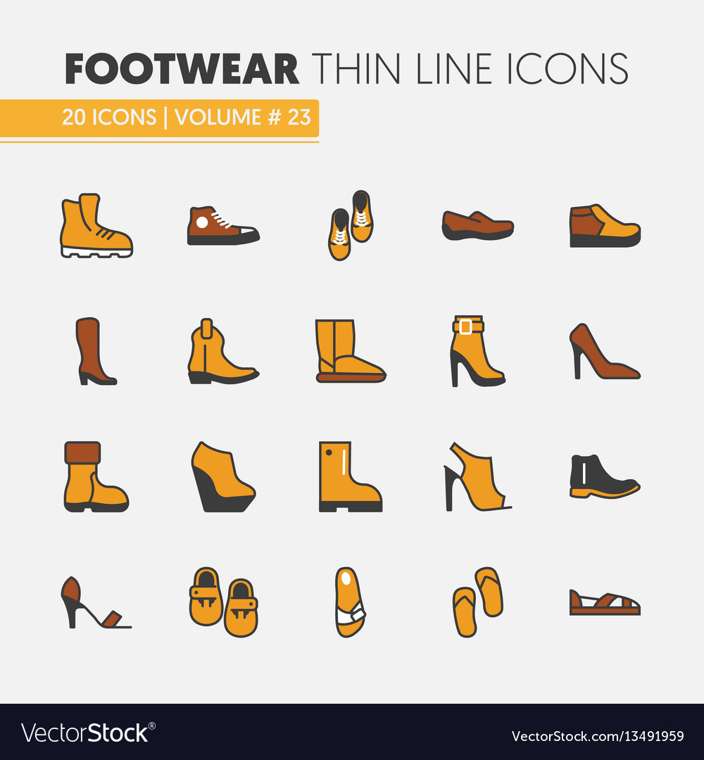 Footwear linear thin line icons set with boots