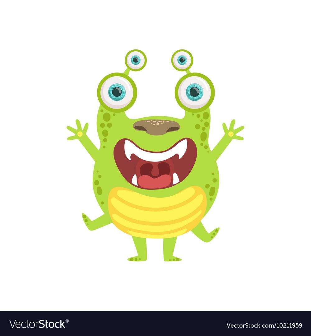Green Screaming Friendly Monster vector image