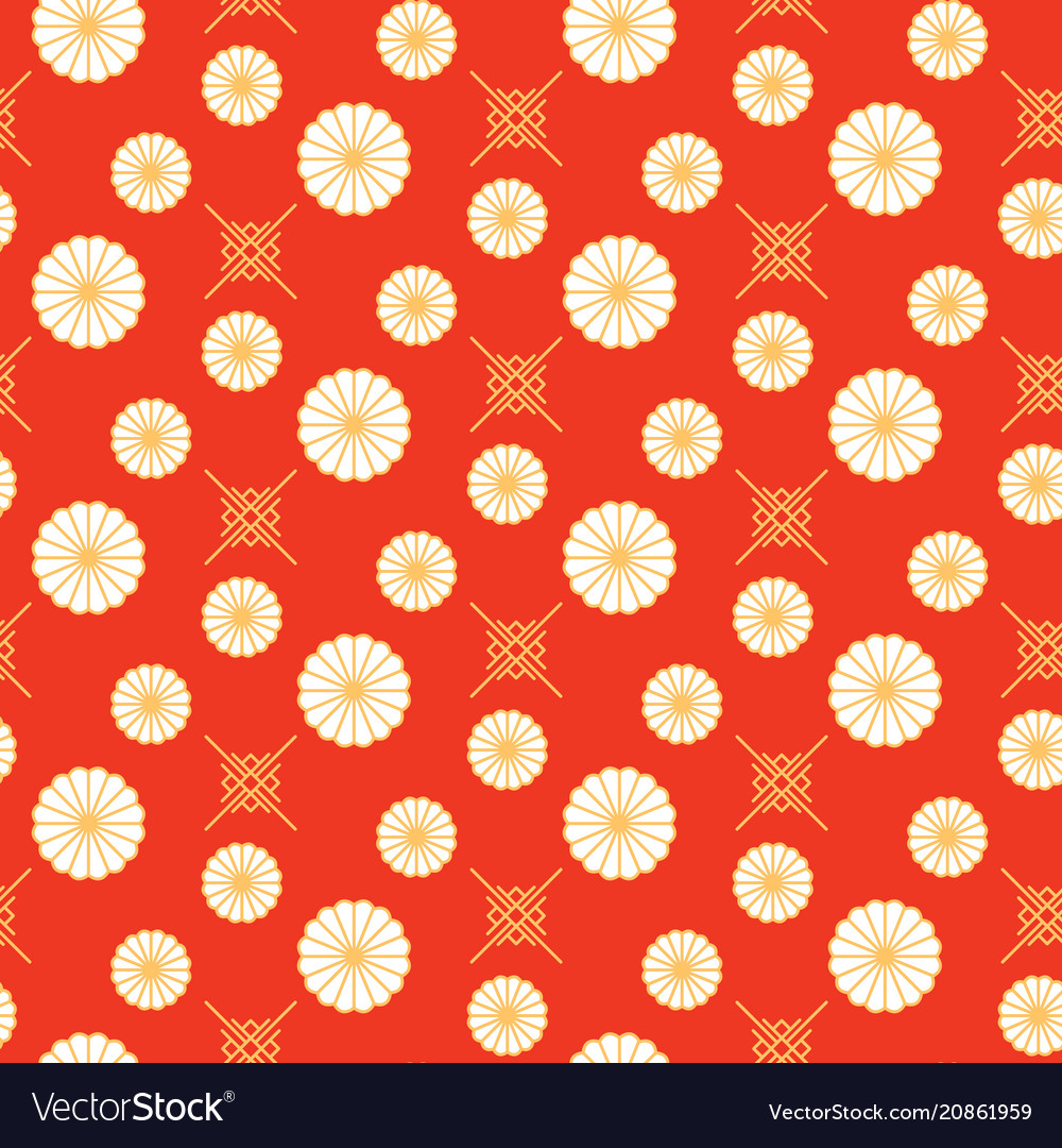 Japanese pattern red and gold floral shapes colors