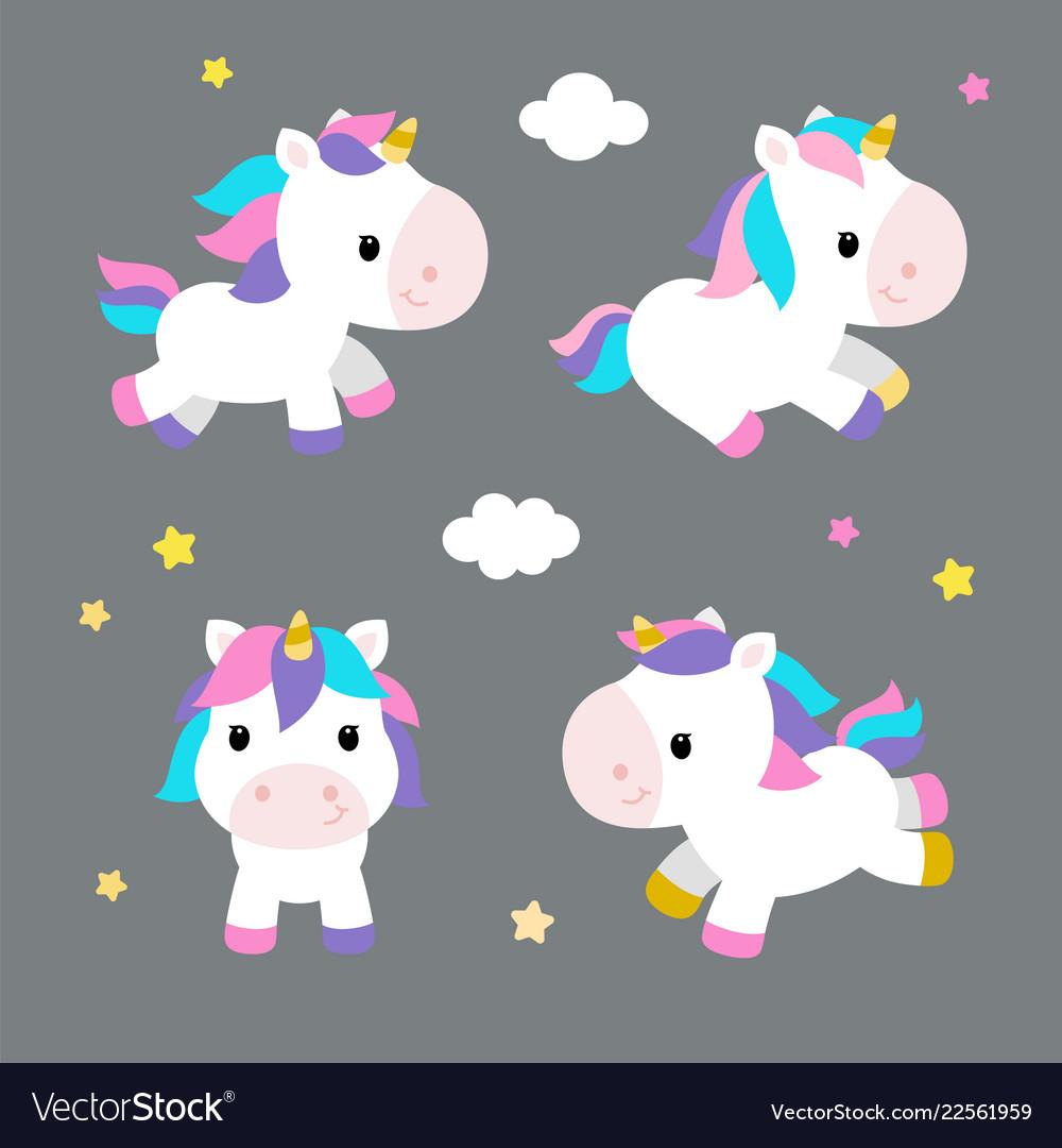 Little unicorns in modern flat style on gray