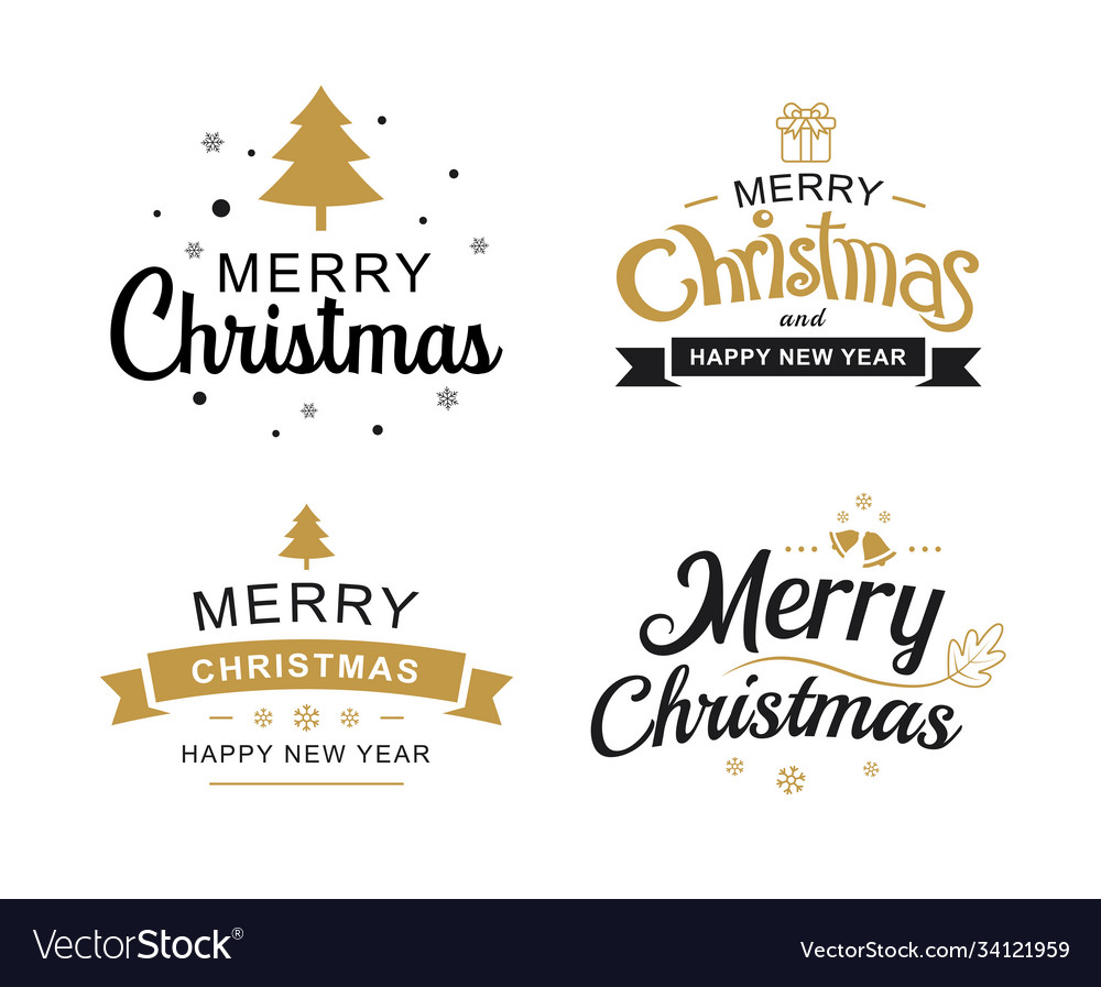 Merry christmas and happy new year typography